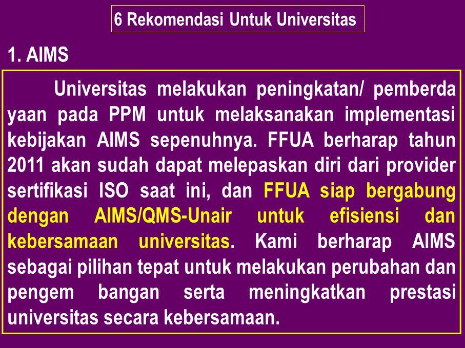 6 Rekomendasi Untuk Universitas 1. AIMS Universitas melakukan peningkatan/ pemberda yaan pada PPM untuk melaksanakan implementasi kebijakan AIMS sepen