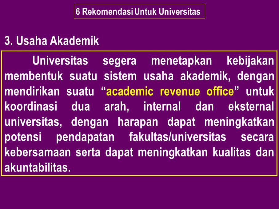 6 Rekomendasi Untuk Universitas 3. Usaha Akademik Universitas segera menetapkan kebijakan membentuk suatu sistem usaha akademik, dengan mendirikan sua