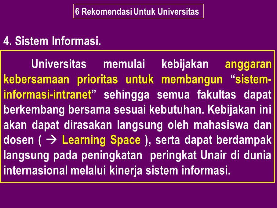"""6 Rekomendasi Untuk Universitas 4. Sistem Informasi. Universitas memulai kebijakan anggaran kebersamaan prioritas untuk membangun """"sistem- informasi-i"""