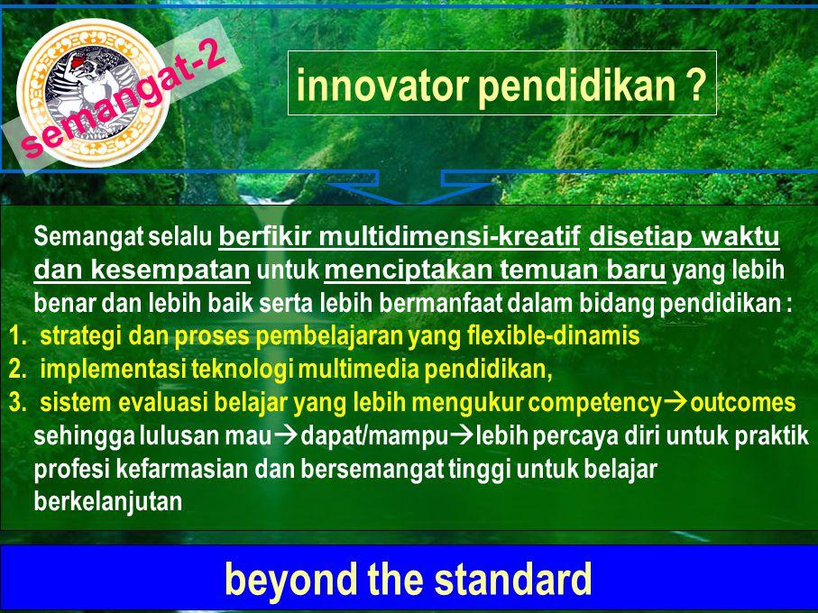 innovator pendidikan ? beyond the standard Semangat selalu berfikir multidimensi-kreatif disetiap waktu dan kesempatan untuk menciptakan temuan baru y