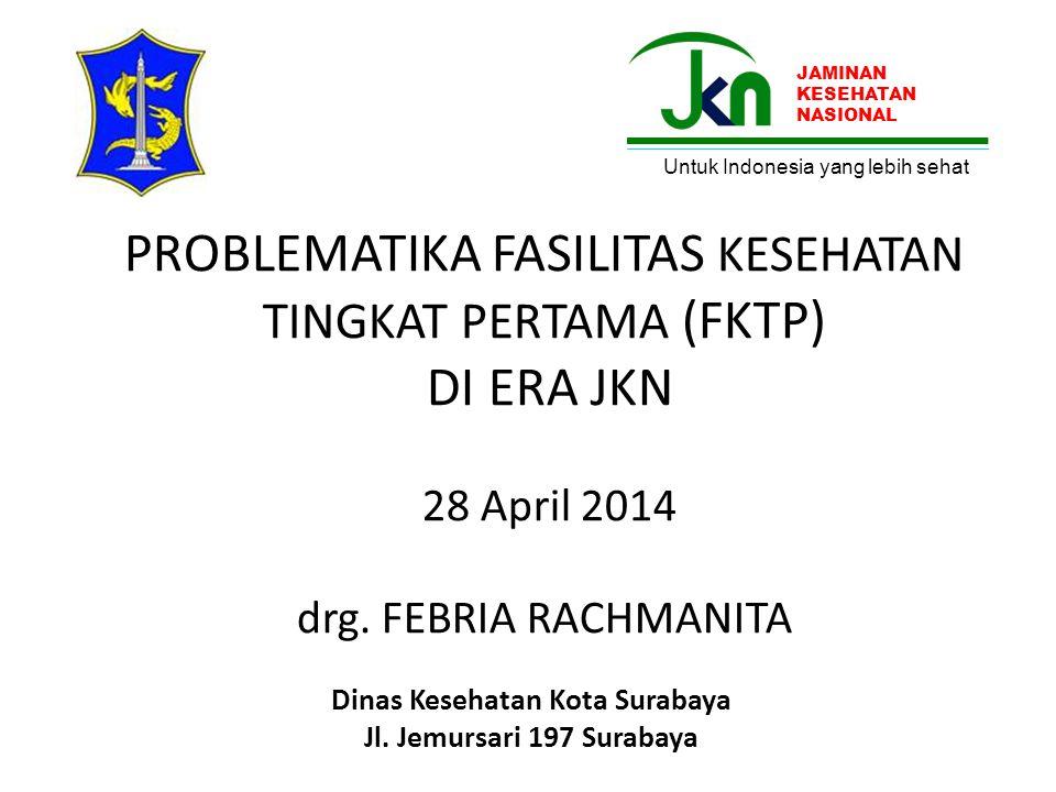 PROBLEMATIKA FASILITAS KESEHATAN TINGKAT PERTAMA (FKTP) DI ERA JKN 28 April 2014 drg. FEBRIA RACHMANITA Dinas Kesehatan Kota Surabaya Jl. Jemursari 19