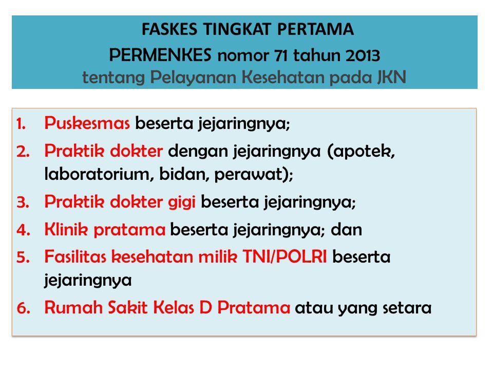FASKES TINGKAT PERTAMA PERMENKES nomor 71 tahun 2013 tentang Pelayanan Kesehatan pada JKN 1.Puskesmas beserta jejaringnya; 2.Praktik dokter dengan jej