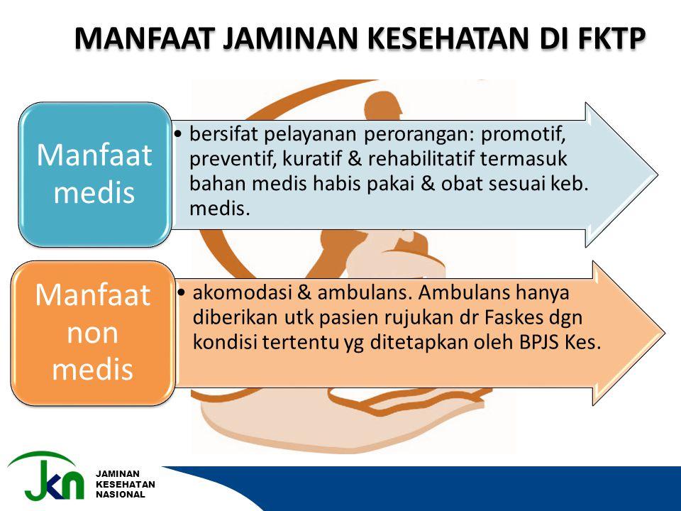 JAMINAN KESEHATAN NASIONAL •bersifat pelayanan perorangan: promotif, preventif, kuratif & rehabilitatif termasuk bahan medis habis pakai & obat sesuai