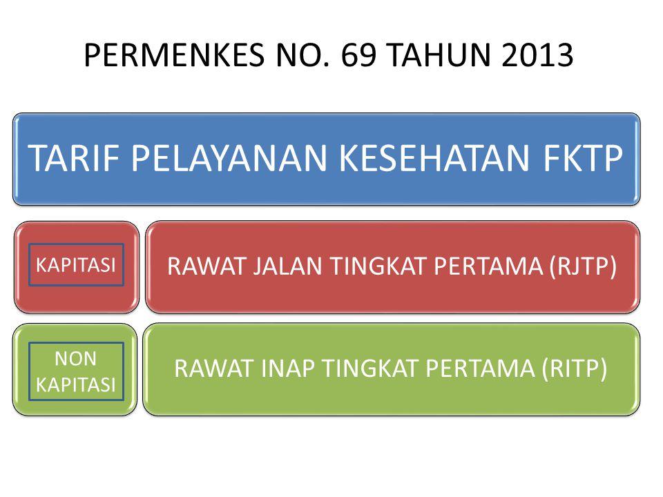 TARIF PELAYANAN KESEHATAN FKTP RAWAT JALAN TINGKAT PERTAMA (RJTP) RAWAT INAP TINGKAT PERTAMA (RITP) KAPITASI NON KAPITASI PERMENKES NO. 69 TAHUN 2013
