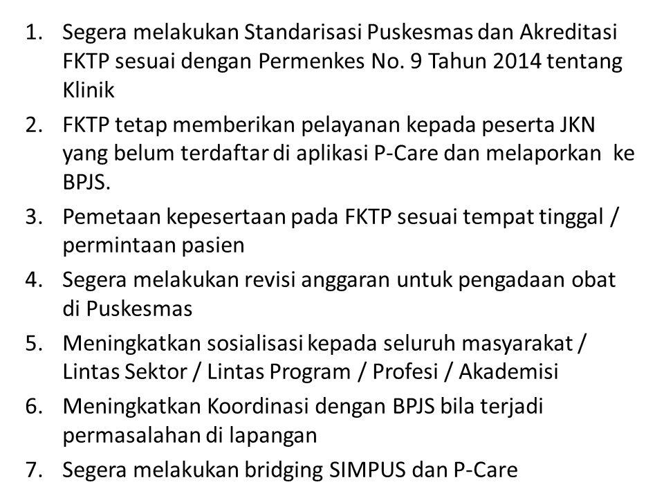 1.Segera melakukan Standarisasi Puskesmas dan Akreditasi FKTP sesuai dengan Permenkes No. 9 Tahun 2014 tentang Klinik 2.FKTP tetap memberikan pelayana