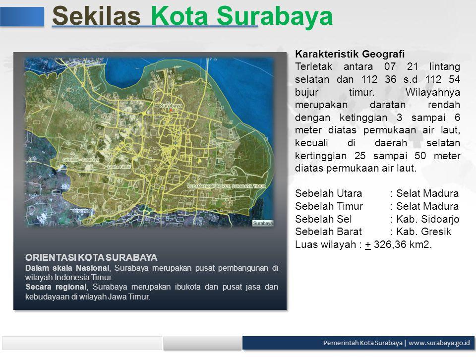 Sekilas Kota Surabaya Karakteristik Geografi Terletak antara 07 21 lintang selatan dan 112 36 s.d 112 54 bujur timur. Wilayahnya merupakan daratan ren