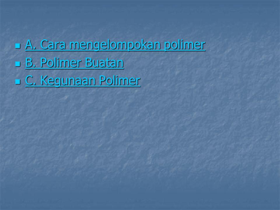  A. Cara mengelompokan polimer A. Cara mengelompokan polimer A. Cara mengelompokan polimer  B. Polimer Buatan B. Polimer Buatan B. Polimer Buatan 