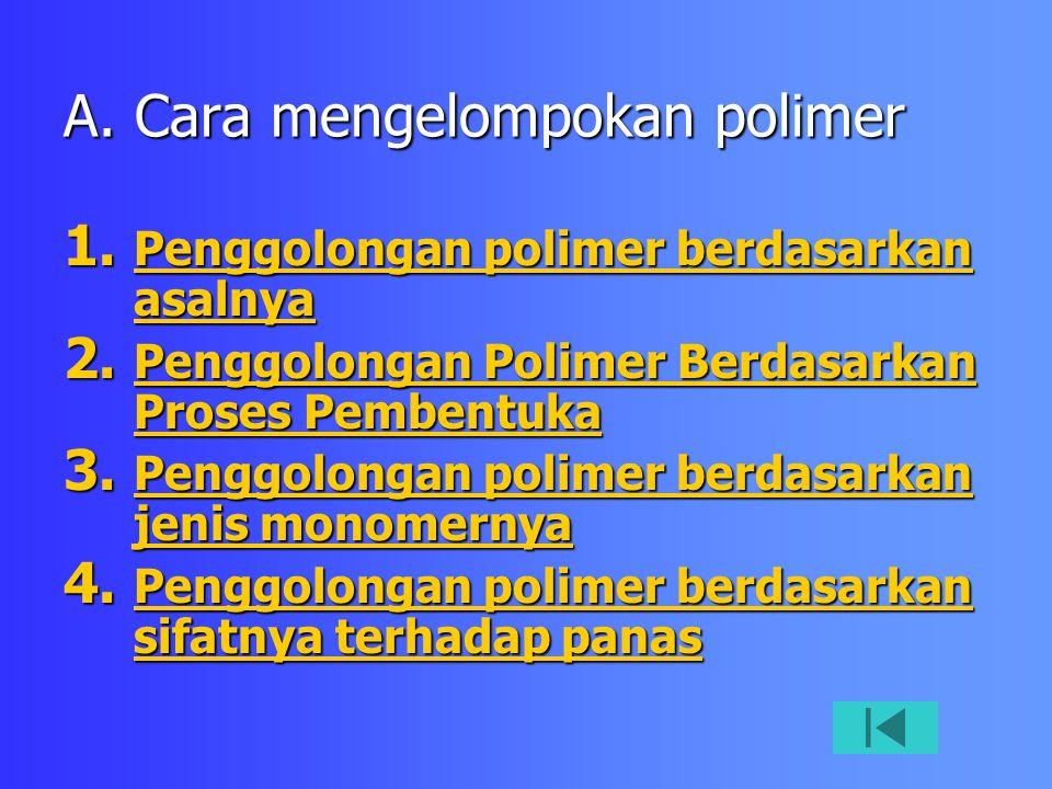 A. Cara mengelompokan polimer 1. Penggolongan polimer berdasarkan asalnya Penggolongan polimer berdasarkan asalnya Penggolongan polimer berdasarkan as