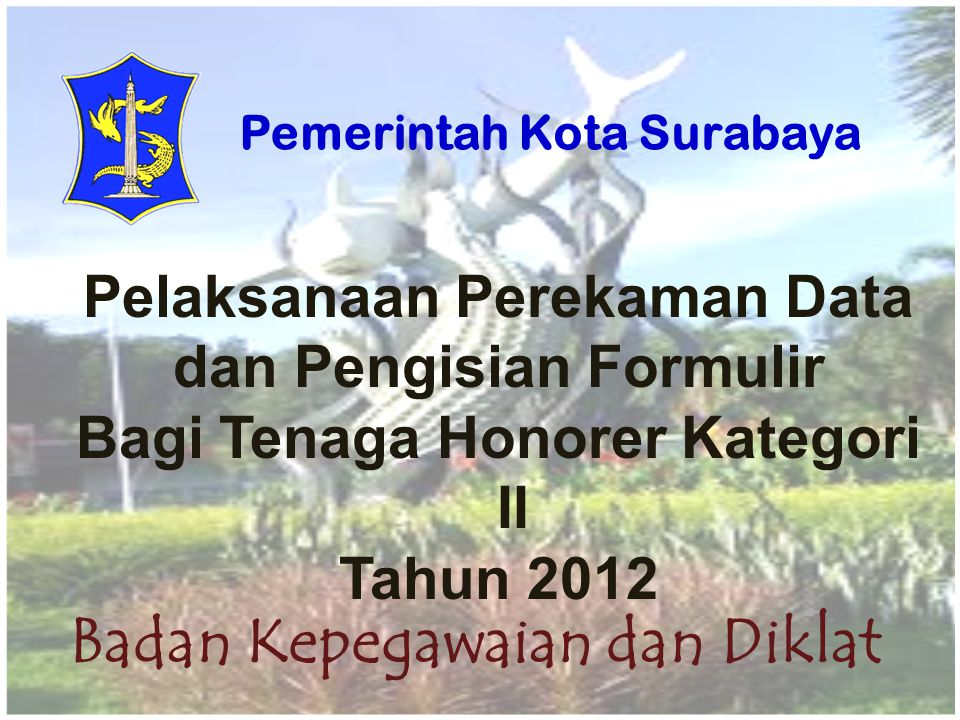 Pelaksanaan Perekaman Data dan Pengisian Formulir Bagi Tenaga Honorer Kategori II Tahun 2012 Badan Kepegawaian dan Diklat Pemerintah Kota Surabaya