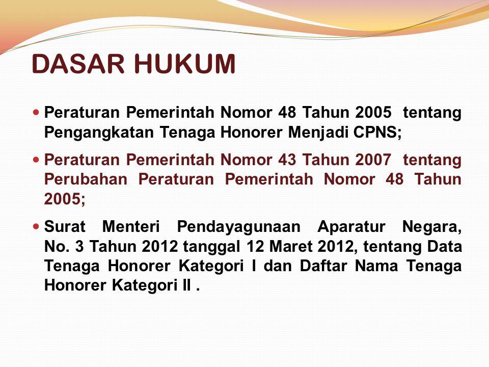 DASAR HUKUM  Peraturan Pemerintah Nomor 48 Tahun 2005 tentang Pengangkatan Tenaga Honorer Menjadi CPNS;  Peraturan Pemerintah Nomor 43 Tahun 2007 tentang Perubahan Peraturan Pemerintah Nomor 48 Tahun 2005;  Surat Menteri Pendayagunaan Aparatur Negara, No.