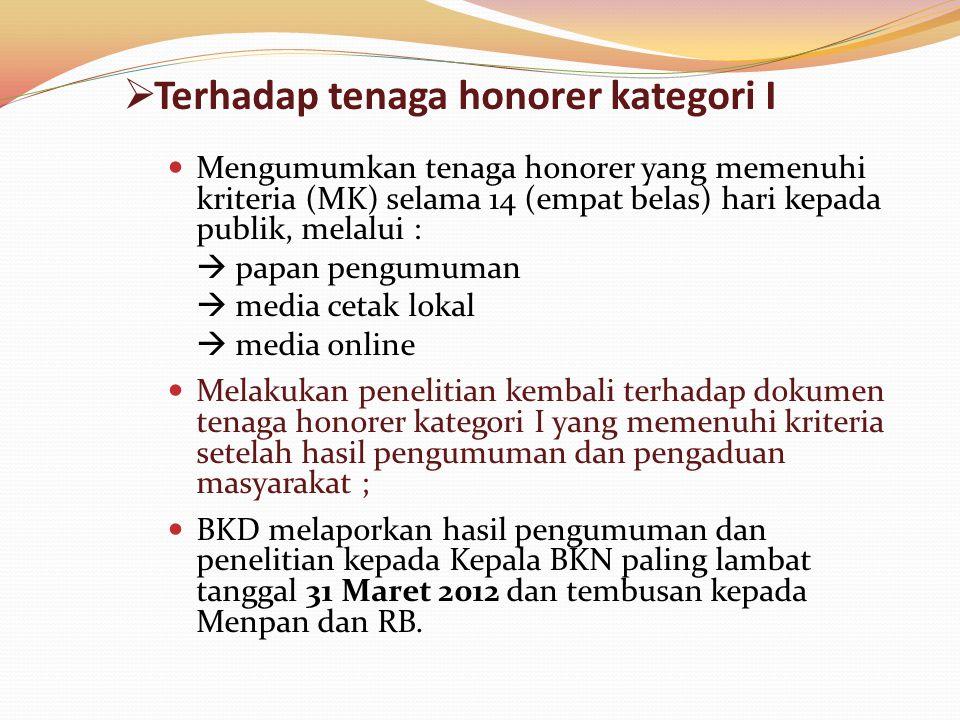  Terhadap tenaga honorer kategori I  Mengumumkan tenaga honorer yang memenuhi kriteria (MK) selama 14 (empat belas) hari kepada publik, melalui : 