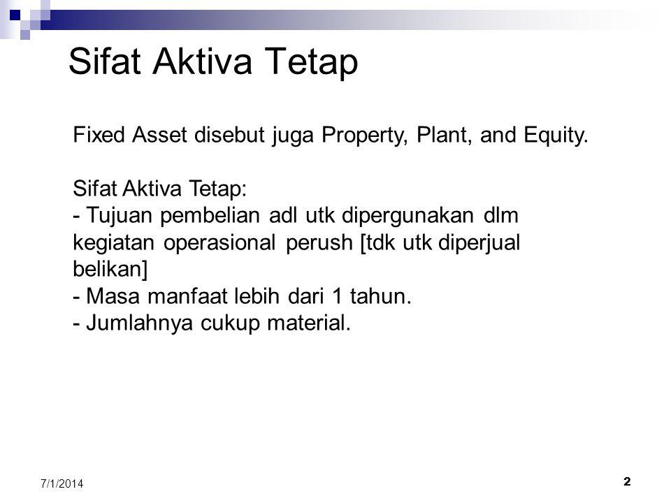 1 7/1/2014 BAB 15 PEMERIKSAAN AKTIVA TETAP 1. Sifat dan contoh Aktiva Tetap 2. Tujuan Pemeriksaan (Audit Objective) Aktiva Tetap 3. Prosedur Pemeriksa