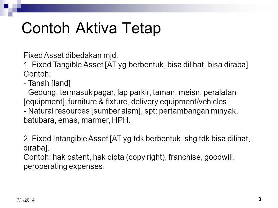 2 7/1/2014 Sifat Aktiva Tetap Fixed Asset disebut juga Property, Plant, and Equity. Sifat Aktiva Tetap: - Tujuan pembelian adl utk dipergunakan dlm ke