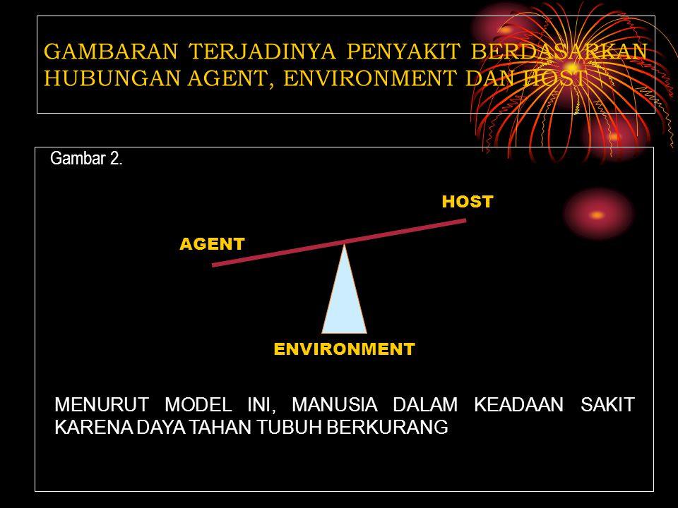 Gambar 1 GAMBARAN TERJADINYA PENYAKIT BERDASARKAN HUBUNGAN AGENT, ENVIRONMENT DAN HOST HOST AGENT ENVIRONMENT MENURUT MODEL INI, MANUSIA DALAM KEADAAN