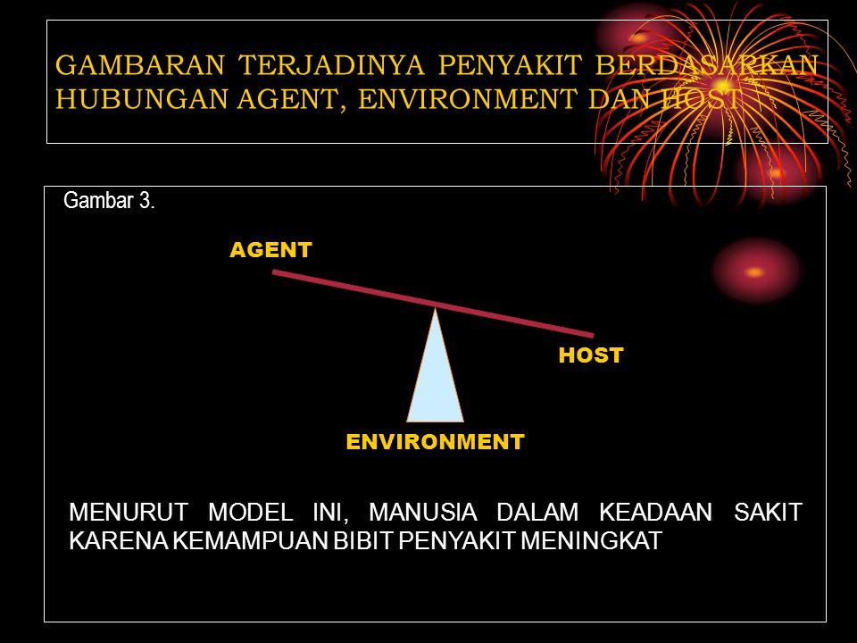 Gambar 2. GAMBARAN TERJADINYA PENYAKIT BERDASARKAN HUBUNGAN AGENT, ENVIRONMENT DAN HOST HOST AGENT ENVIRONMENT MENURUT MODEL INI, MANUSIA DALAM KEADAA