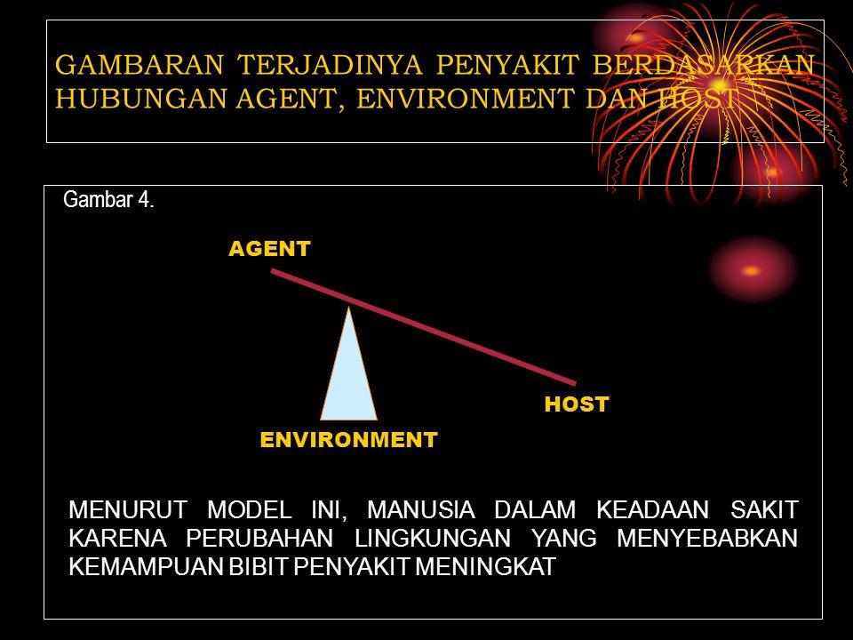 Gambar 3. GAMBARAN TERJADINYA PENYAKIT BERDASARKAN HUBUNGAN AGENT, ENVIRONMENT DAN HOST HOST AGENT ENVIRONMENT MENURUT MODEL INI, MANUSIA DALAM KEADAA