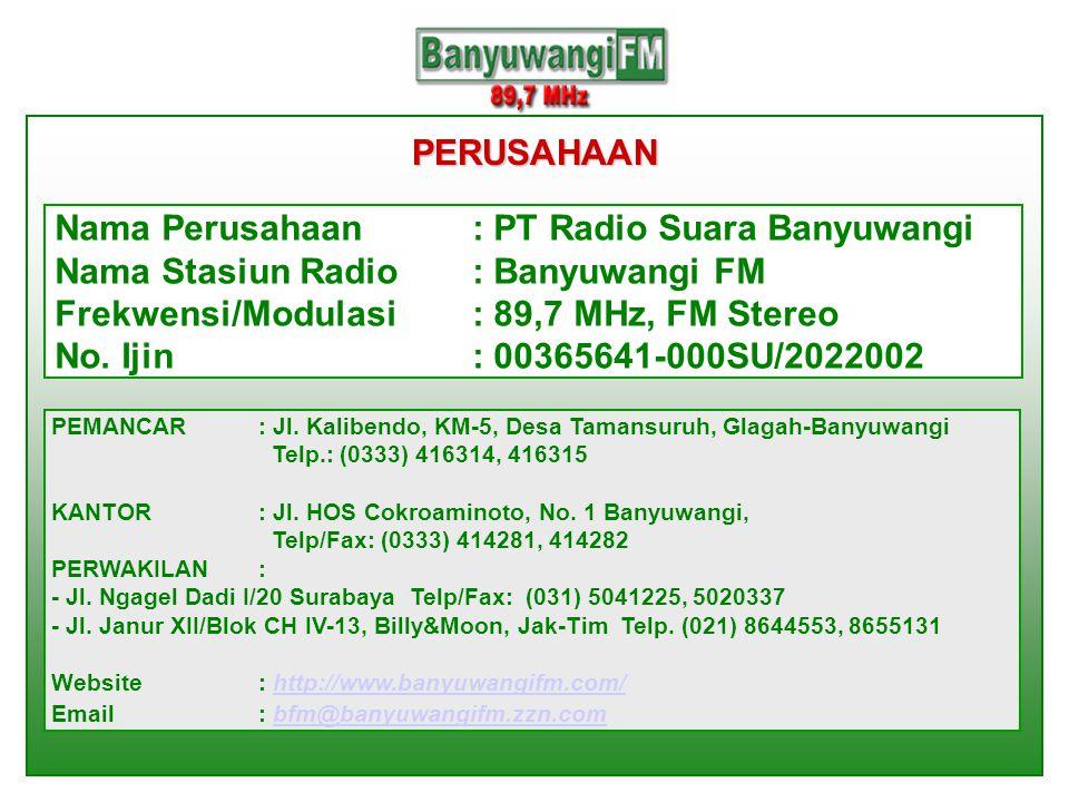 PERUSAHAAN Nama Perusahaan: PT Radio Suara Banyuwangi Nama Stasiun Radio: Banyuwangi FM Frekwensi/Modulasi: 89,7 MHz, FM Stereo No. Ijin: 00365641-000