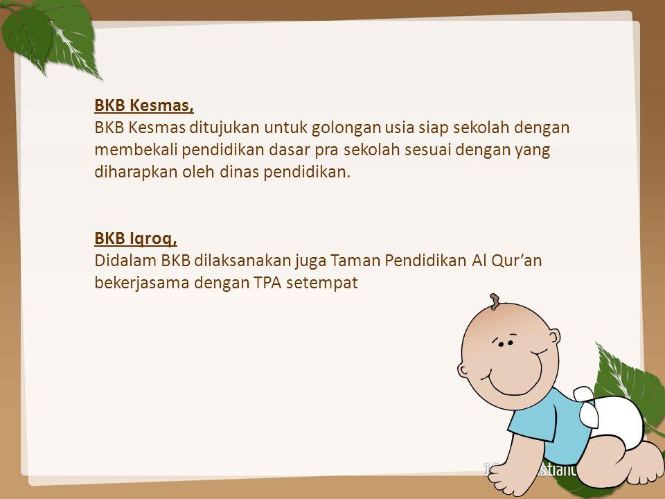 BKB Kesmas, BKB Kesmas ditujukan untuk golongan usia siap sekolah dengan membekali pendidikan dasar pra sekolah sesuai dengan yang diharapkan oleh din