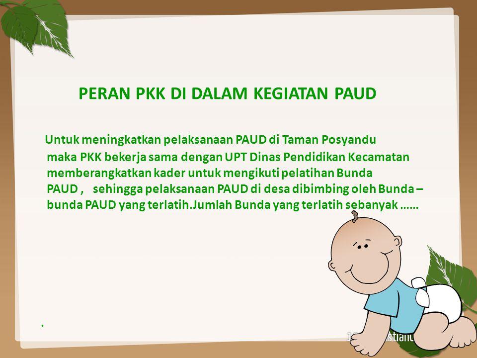 PERAN PKK DI DALAM KEGIATAN PAUD Untuk meningkatkan pelaksanaan PAUD di Taman Posyandu maka PKK bekerja sama dengan UPT Dinas Pendidikan Kecamatan mem