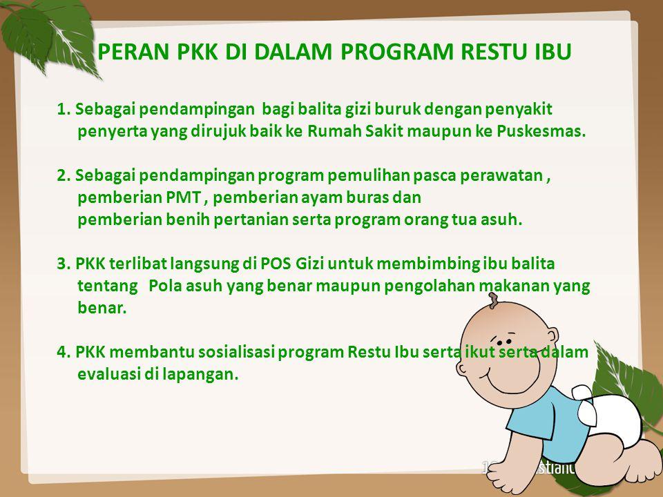 PERAN PKK DI DALAM PROGRAM RESTU IBU 1. Sebagai pendampingan bagi balita gizi buruk dengan penyakit penyerta yang dirujuk baik ke Rumah Sakit maupun k