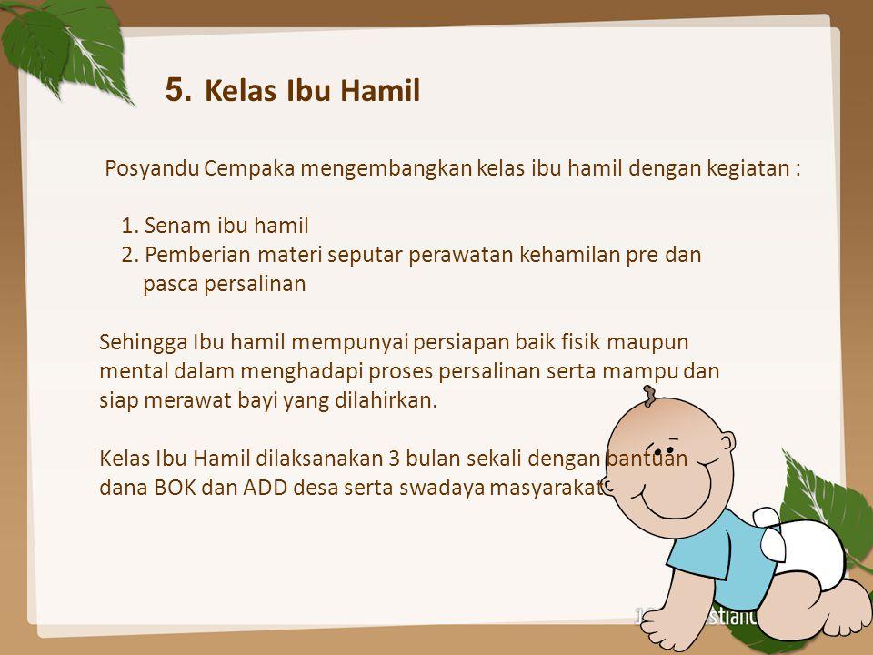 5. Kelas Ibu Hamil Posyandu Cempaka mengembangkan kelas ibu hamil dengan kegiatan : 1. Senam ibu hamil 2. Pemberian materi seputar perawatan kehamilan