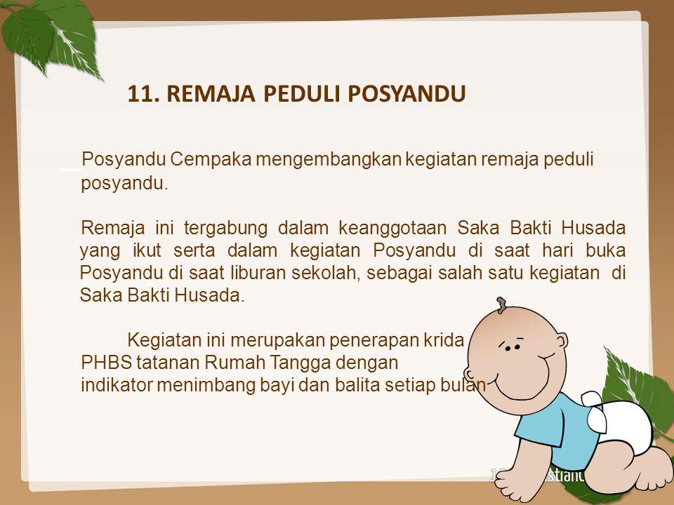 11. REMAJA PEDULI POSYANDU Posyandu Cempaka mengembangkan kegiatan remaja peduli posyandu. Remaja ini tergabung dalam keanggotaan Saka Bakti Husada ya