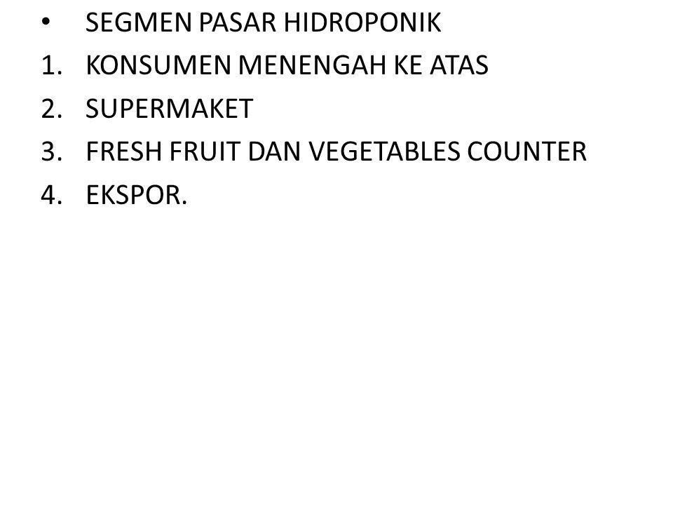 • SEGMEN PASAR HIDROPONIK 1.KONSUMEN MENENGAH KE ATAS 2.SUPERMAKET 3.FRESH FRUIT DAN VEGETABLES COUNTER 4.EKSPOR.
