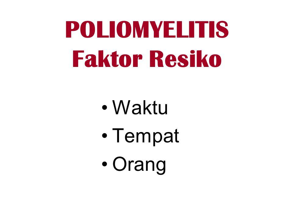 POLIOMYELITIS Faktor Resiko •Waktu •Tempat •Orang