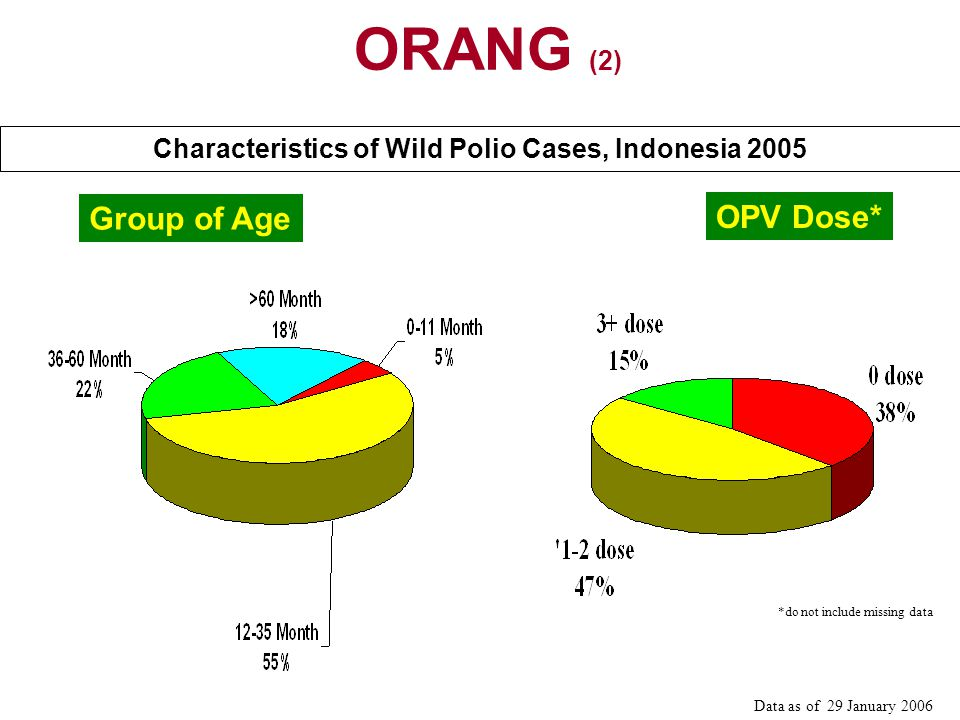 Characteristics of Wild Polio Cases, Indonesia 2005 Group of Age OPV Dose* Data as of 29 January 2006 *do not include missing data ORANG (2)