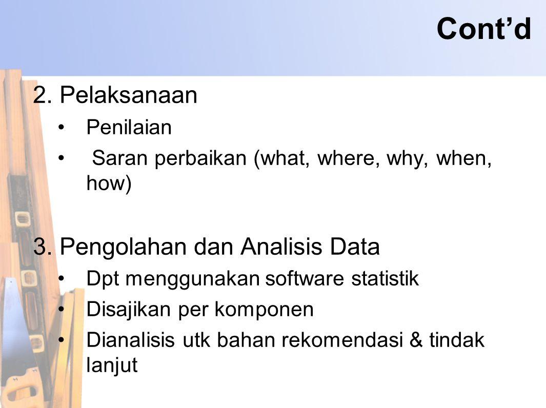 Cont'd 2. Pelaksanaan •Penilaian • Saran perbaikan (what, where, why, when, how) 3. Pengolahan dan Analisis Data •Dpt menggunakan software statistik •