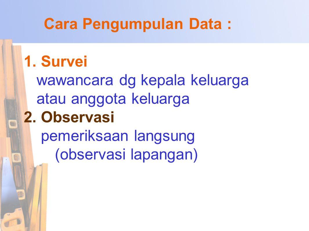 1.Survei wawancara dg kepala keluarga atau anggota keluarga 2.