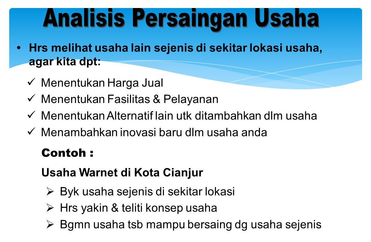 • Hrs melihat usaha lain sejenis di sekitar lokasi usaha, agar kita dpt: Contoh : Usaha Warnet di Kota Cianjur  Byk usaha sejenis di sekitar lokasi 