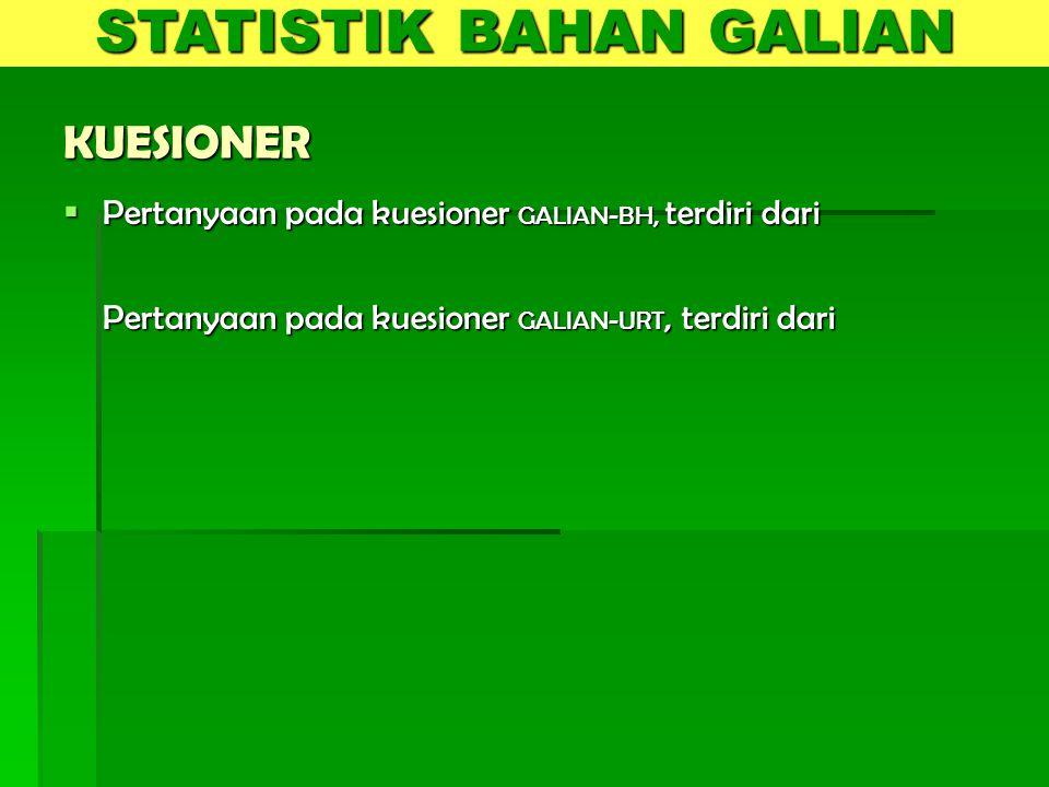 KUESIONER  Pertanyaan pada kuesioner GALIAN-BH, terdiri dari Pertanyaan pada kuesioner GALIAN-URT, terdiri dari STATISTIK BAHAN GALIAN