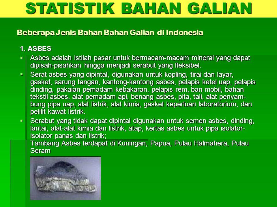 Beberapa Jenis Bahan Bahan Galian di Indonesia 1. ASBES  Asbes adalah istilah pasar untuk bermacam-macam mineral yang dapat dipisah-pisahkan hingga m