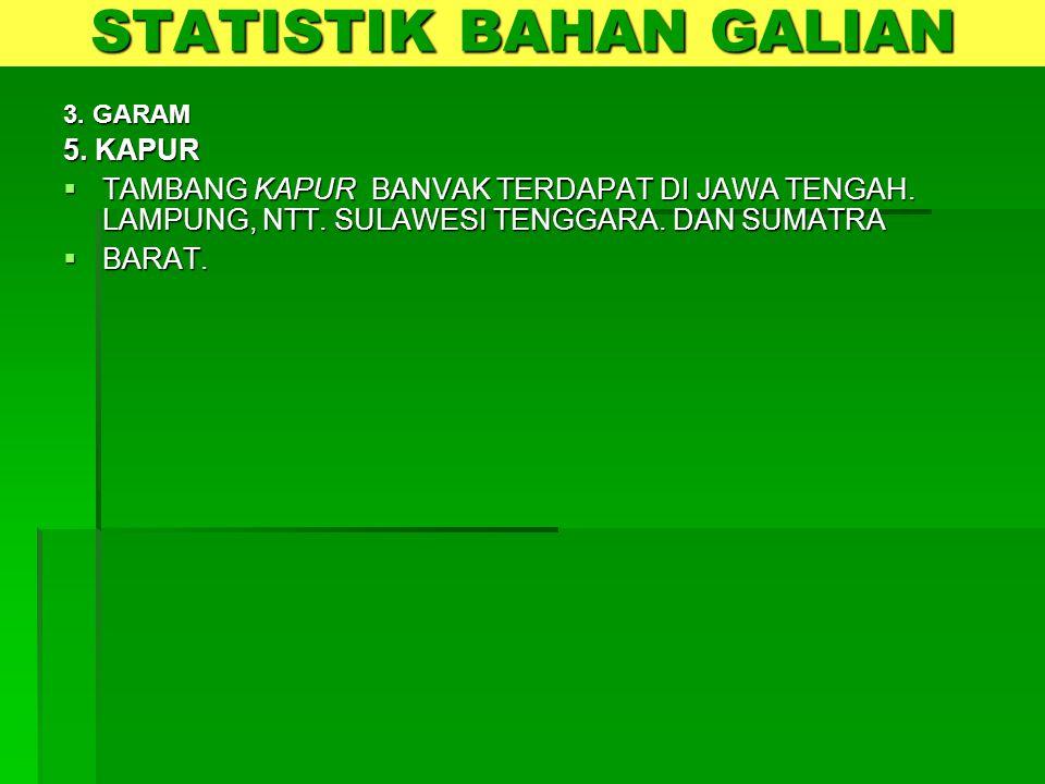 3. GARAM 5. KAPUR  TAMBANG KAPUR BANVAK TERDAPAT DI JAWA TENGAH. LAMPUNG, NTT. SULAWESI TENGGARA. DAN SUMATRA  BARAT. STATISTIK BAHAN GALIAN
