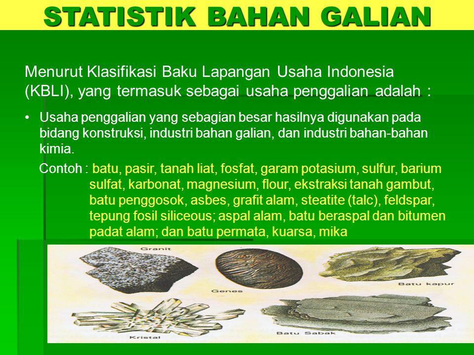  Merupakan survei rutin tahunan yang dilakukan terhadap perusahaan dan usaha rumah tangga yang bergerak di sektor penggalian di seluruh indonesia  Survei Penggalian mulai dilaksanakan pada tahun 2003  Dilaksanakan untuk melengkapi pengumpulan data sektor pertambangan yg sebelumnya telah dilakukan untuk subsektor pertambangan migas dan non migas STATISTIK BAHAN GALIAN SURVEI PENGGALIAN