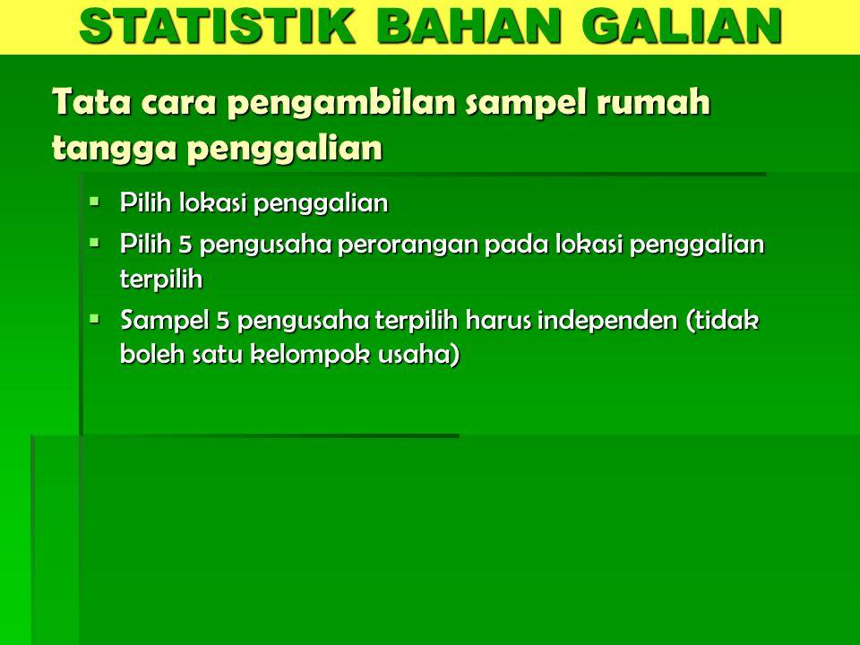 KUESIONER  Kuesioner survei penggalian terdiri dari : 1.GALIAN-BH 2.GALIAN-URT  Kuesioner GALIAN-BH digunakan untuk perusahaan, dan Kuesioner GALIAN-URT digunakan untuk usaha rumah tangga STATISTIK BAHAN GALIAN