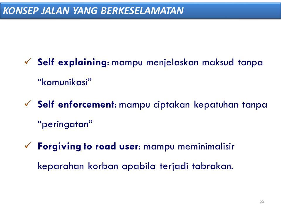 """ Self explaining: mampu menjelaskan maksud tanpa """"komunikasi""""  Self enforcement: mampu ciptakan kepatuhan tanpa """"peringatan""""  Forgiving to road use"""
