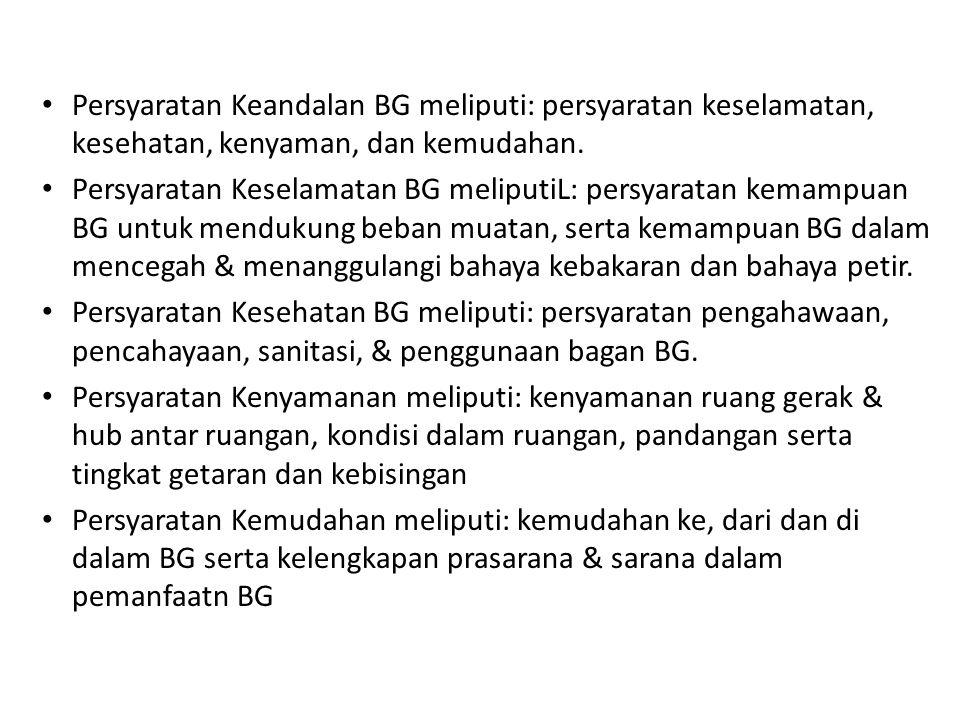 • Persyaratan Keandalan BG meliputi: persyaratan keselamatan, kesehatan, kenyaman, dan kemudahan. • Persyaratan Keselamatan BG meliputiL: persyaratan