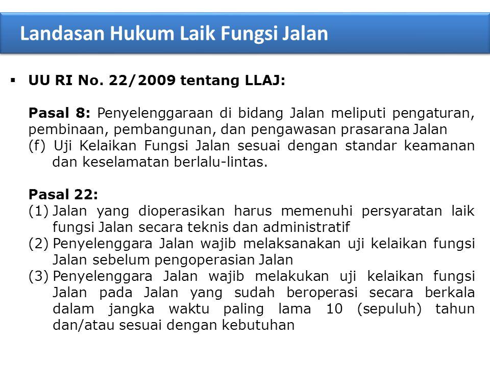  UU RI No. 22/2009 tentang LLAJ: Pasal 8: Penyelenggaraan di bidang Jalan meliputi pengaturan, pembinaan, pembangunan, dan pengawasan prasarana Jalan