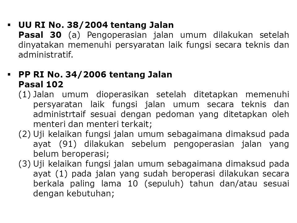  UU RI No. 38/2004 tentang Jalan Pasal 30 (a) Pengoperasian jalan umum dilakukan setelah dinyatakan memenuhi persyaratan laik fungsi secara teknis da
