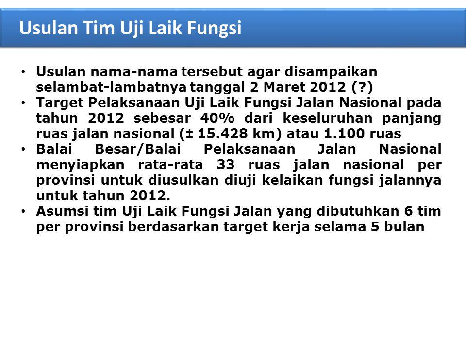 • Usulan nama-nama tersebut agar disampaikan selambat-lambatnya tanggal 2 Maret 2012 (?) • Target Pelaksanaan Uji Laik Fungsi Jalan Nasional pada tahu
