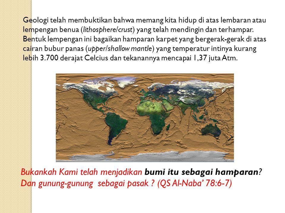 Bukankah Kami telah menjadikan bumi itu sebagai hamparan? Dan gunung-gunung sebagai pasak ? (QS Al-Naba' 78:6-7) Geologi telah membuktikan bahwa meman
