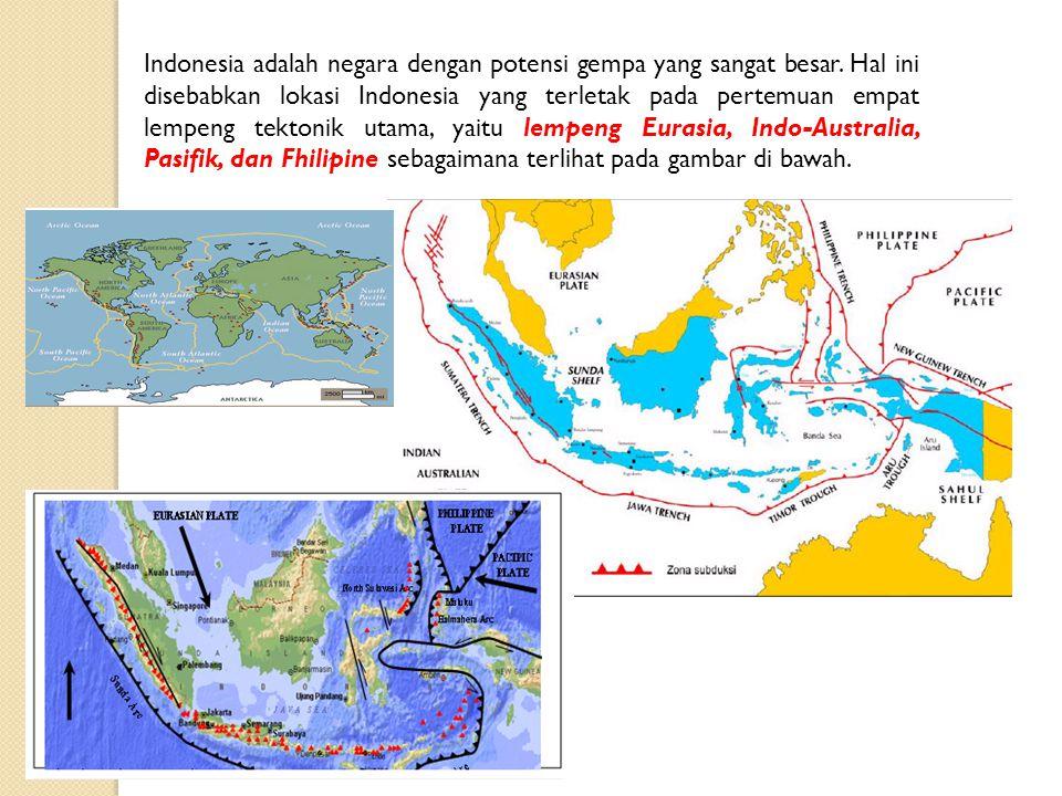 Indonesia adalah negara dengan potensi gempa yang sangat besar. Hal ini disebabkan lokasi Indonesia yang terletak pada pertemuan empat lempeng tektoni