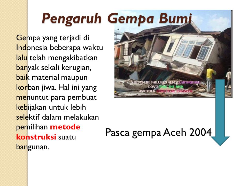 Pasca gempa Aceh 2004 Gempa yang terjadi di Indonesia beberapa waktu lalu telah mengakibatkan banyak sekali kerugian, baik material maupun korban jiwa