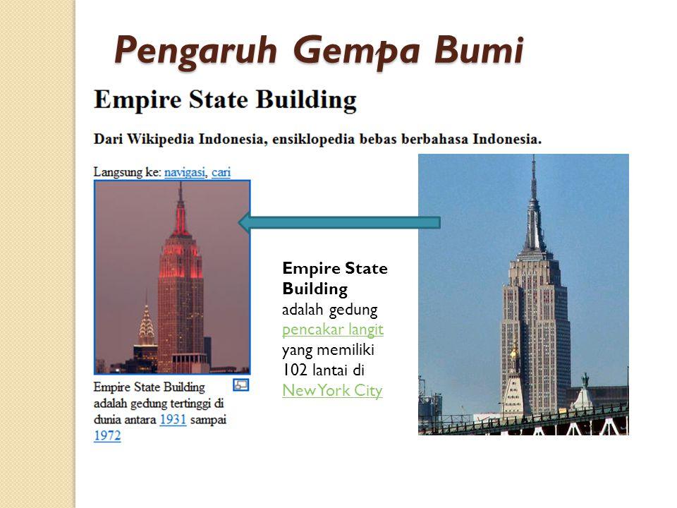Empire State Building adalah gedung pencakar langit yang memiliki 102 lantai di New York City pencakar langit New York City Pengaruh Gempa Bumi