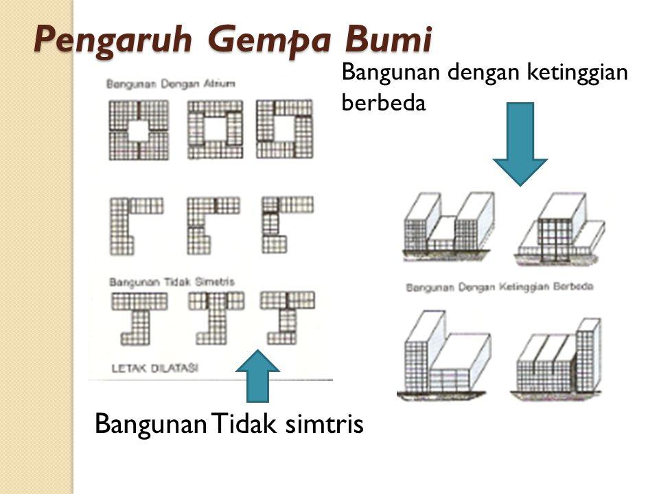 Bangunan Tidak simtris Bangunan dengan ketinggian berbeda Pengaruh Gempa Bumi