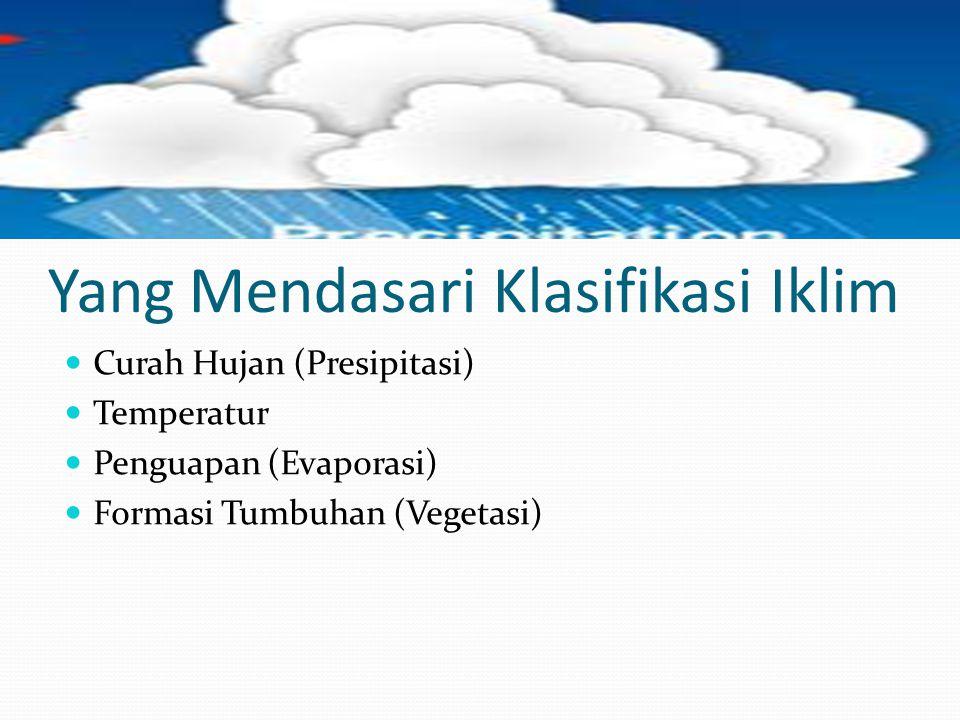 Yang Mendasari Klasifikasi Iklim  Curah Hujan (Presipitasi)  Temperatur  Penguapan (Evaporasi)  Formasi Tumbuhan (Vegetasi)