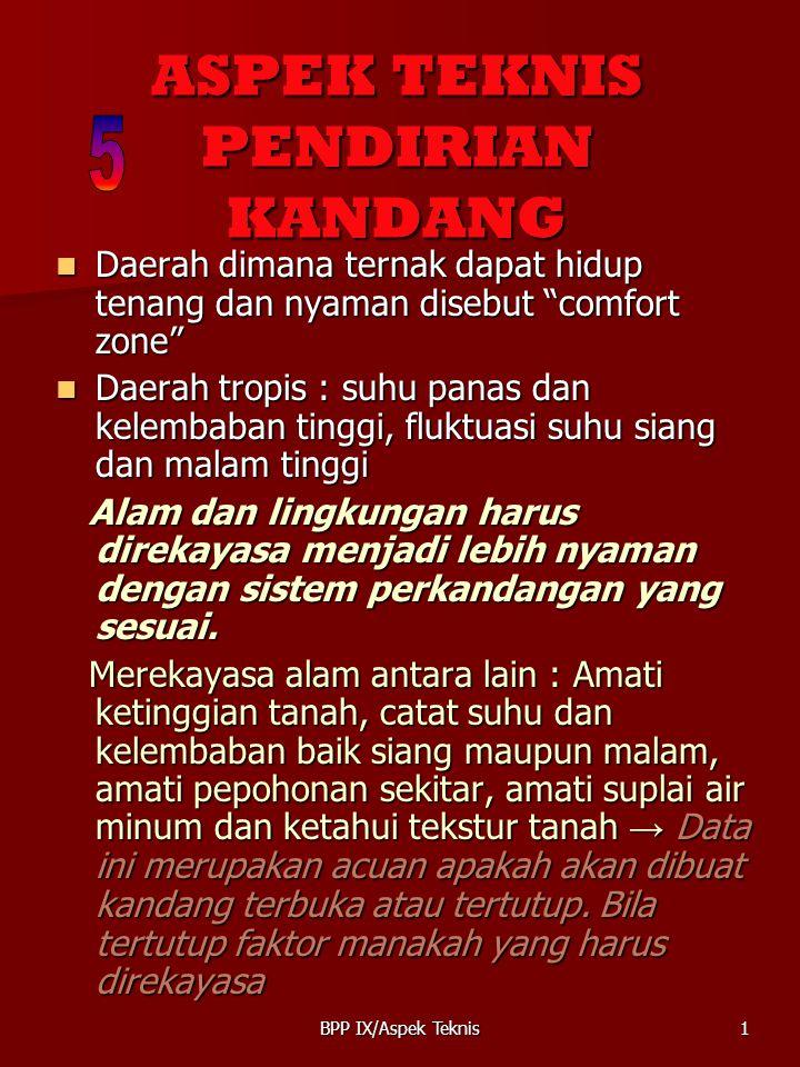 BPP IX/Aspek Teknis12 SYARAT MEMBANGUN KANDANG 1.