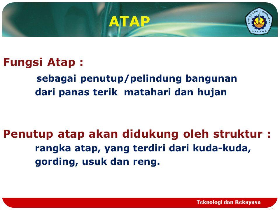 Teknologi dan Rekayasa ATAP Fungsi Atap : sebagai penutup/pelindung bangunan dari panas terik matahari dan hujan Penutup atap akan didukung oleh struk